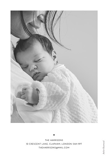 Baby Thank You Cards The big arrival (portrait) white