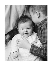 Simple photo portrait 4p (foil) white baby thank you cards