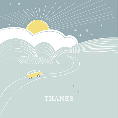 Baby Thank You Cards Sunshine 3 photos green finition