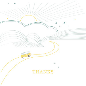 Sunshine 3 photos green & white yellow baby thank you cards