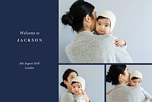 Elegant foliage 3 photos (foil) dark blue foil baby announcements