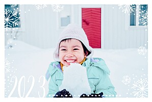 Snow day (4 pages) white & blue new year christmas cards