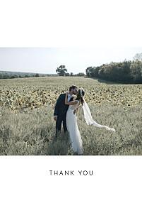 Foil frame minimalist white silver foil wedding thank you cards