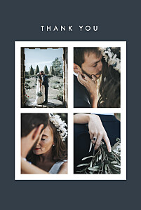 Magic moments 4 photos (foil) blue blue wedding thank you cards
