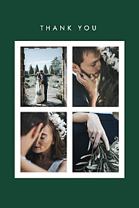 Magic moments 4 photos (foil) green green wedding thank you cards
