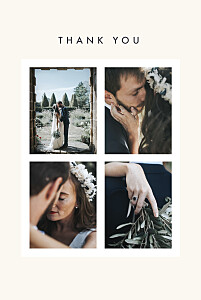 Magic moments 4 photos (foil) beige beige wedding thank you cards