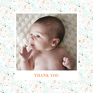 Liberty stars (foil) copper orange baby thank you cards