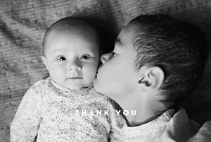 Treasured (foil) sand brown baby thank you cards