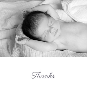 Starry ribbon (foil) silver foil baby thank you cards