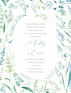 Country meadow green floral wedding invitations