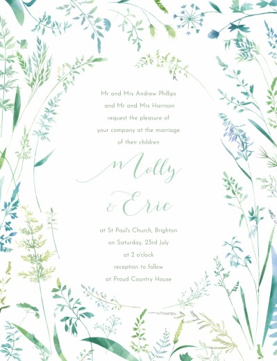 Wedding Invitations Country meadow green