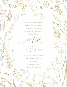 Country meadow sand beige wedding invitations