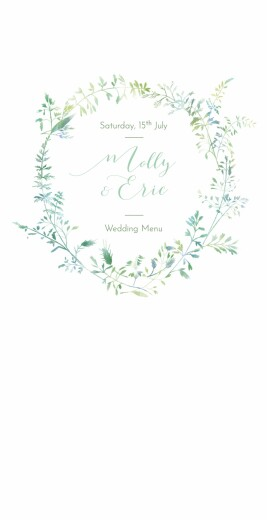 Wedding Menus Country meadow 4 pages green