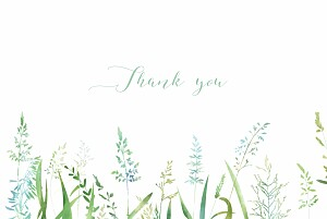 Country meadow green modern wedding thank you cards