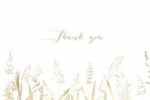 Country meadow sand beige wedding thank you cards