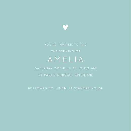 Christening Invitations Lovely heart 4 pages (foil) blue - Page 3