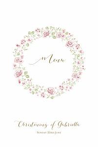 Rose garden white christening menus