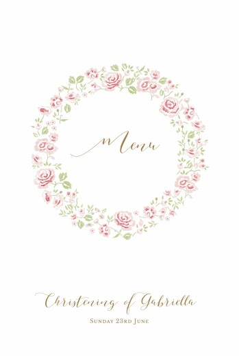 Christening Menus Rose garden white