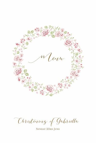 Christening Menus Rose garden white finition