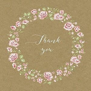 Rose garden kraft brown baby thank you cards