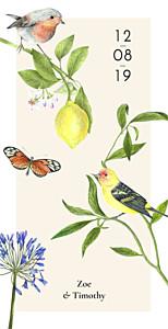 Flora & fauna white wedding menus