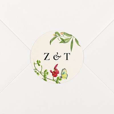 Flora & fauna white wedding stickers