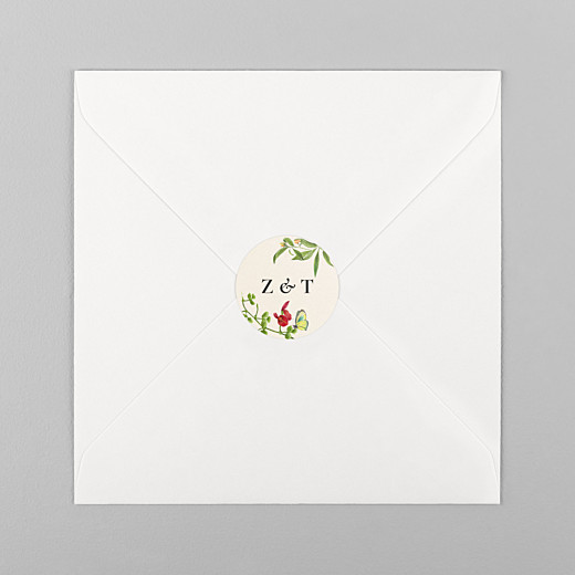 Wedding Stickers Flora & fauna white - View 1