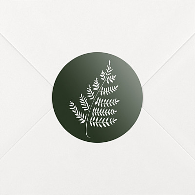 Forever ferns green wedding stickers