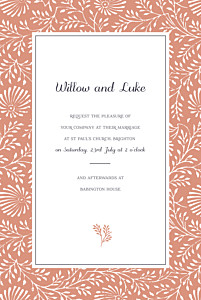 Idyllic coral mr & mrs clynk  wedding invitations