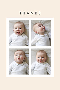 Magic moments 4 photos (foil) beige blue baby thank you cards