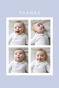 Magic moments 4 photos (foil) blue girls baby thank you cards