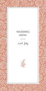 Idyllic coral wedding menus