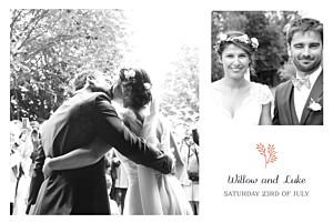 Idyllic coral mr & mrs clynk  wedding thank you cards