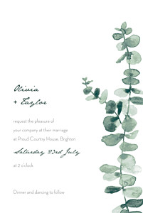 Eucalyptus white traditional wedding invitations