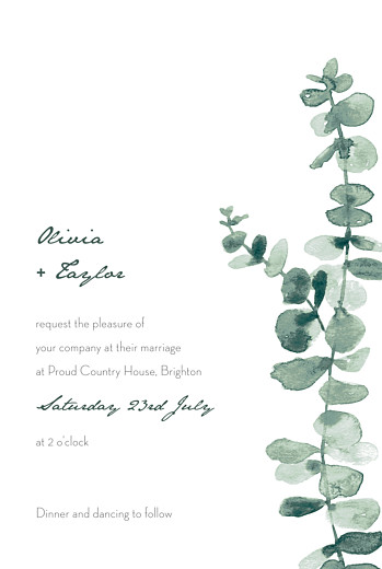 Wedding Invitations Eucalyptus white