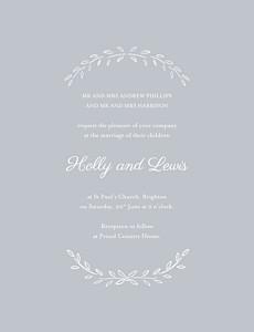 Poem portrait grey grey wedding invitations