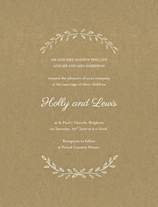 Poem portrait kraft traditional wedding invitations