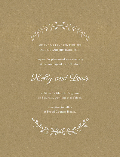 Wedding Invitations Poem portrait kraft