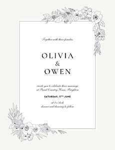 Secret garden portrait white beige wedding invitations