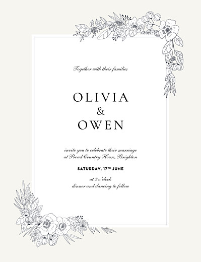 Wedding Invitations Secret garden portrait white