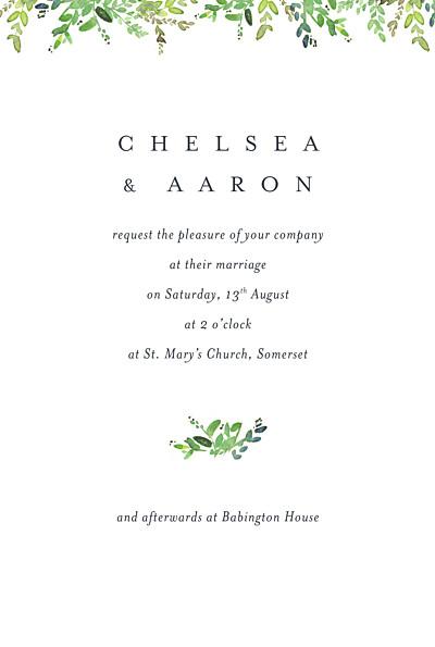 Wedding Invitations Canopy petite green finition