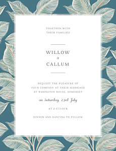 Calathea portrait blue tropical wedding invitations