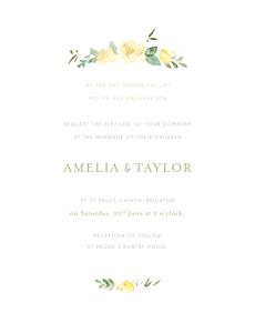 English garden portrait green yellow wedding invitations