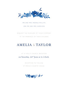 English garden portrait blue petite alma  wedding invitations