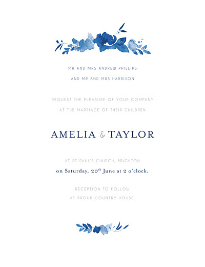 Wedding Invitations English garden portrait blue finition