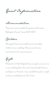 Eucalyptus white guest information cards