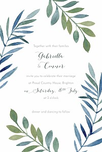 Moonlit meadow blue rustic wedding invitations