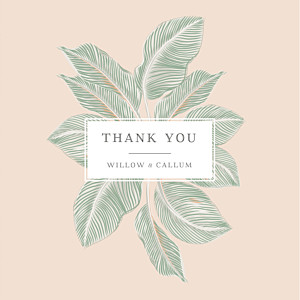 Calathea (4 pages) pink beige wedding thank you cards