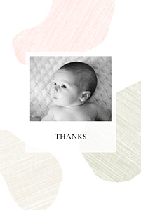 Pebbles pink baby thank you cards