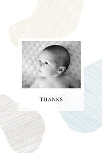 Pebbles blue yellow baby thank you cards